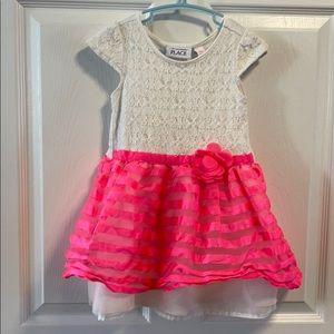 Children Place white dress w pink sheer bottom 4T